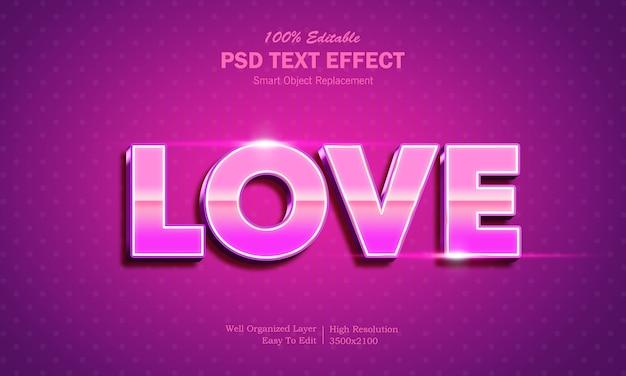 Шаблон текстового эффекта 3d shining love style 3 Premium Psd