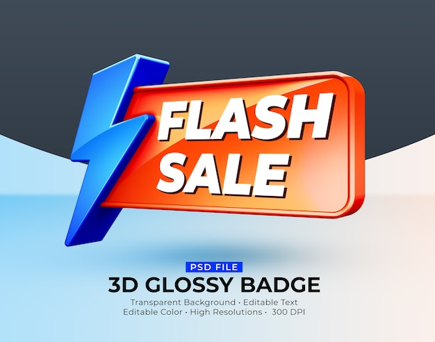 3d 반짝 광택 배지 플래시 판매 모형 프리미엄 PSD 파일