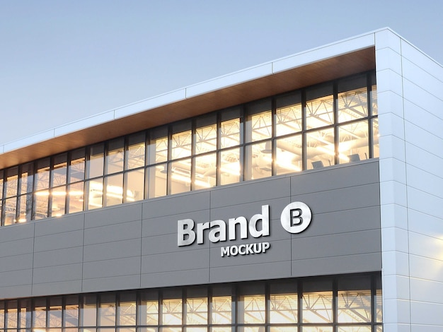 Mockup ảnh thương hiệu 3d trên mặt tiền tòa nhà Psd cao cấp