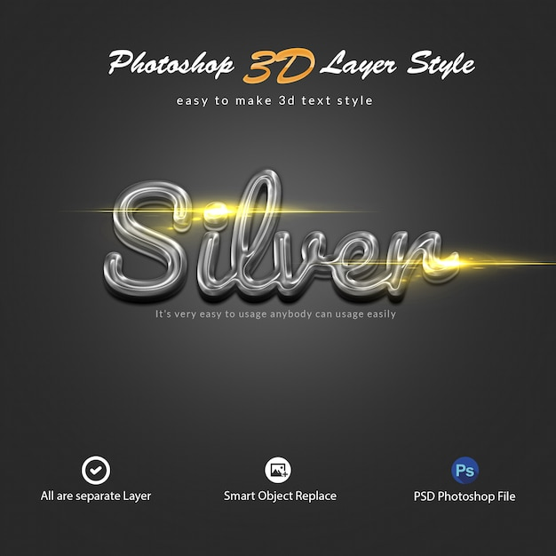 3d silver photoshop layer style text effects Premium Psd