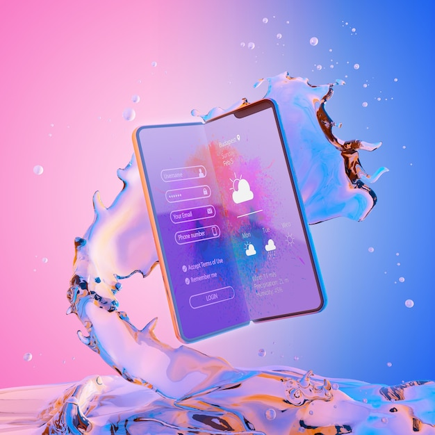 3d smartphone with water effect Premium Psd