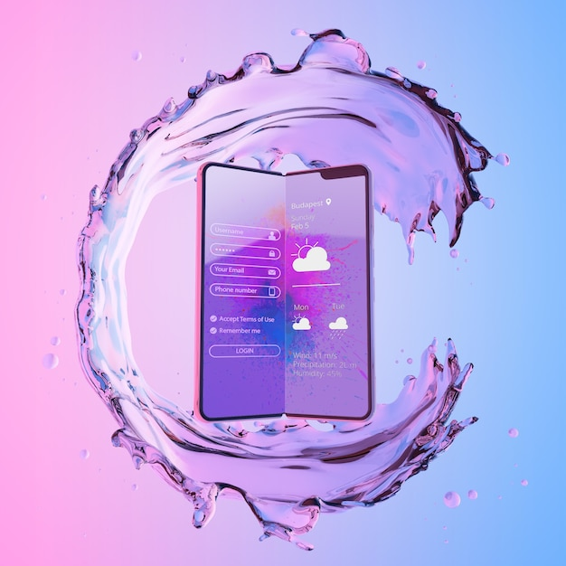 3d smartphone with water effect Free Psd