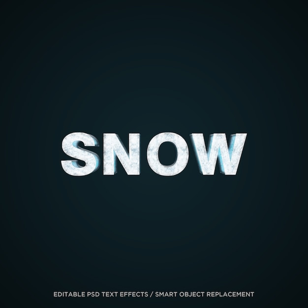 3d snow editable text effect Premium Psd