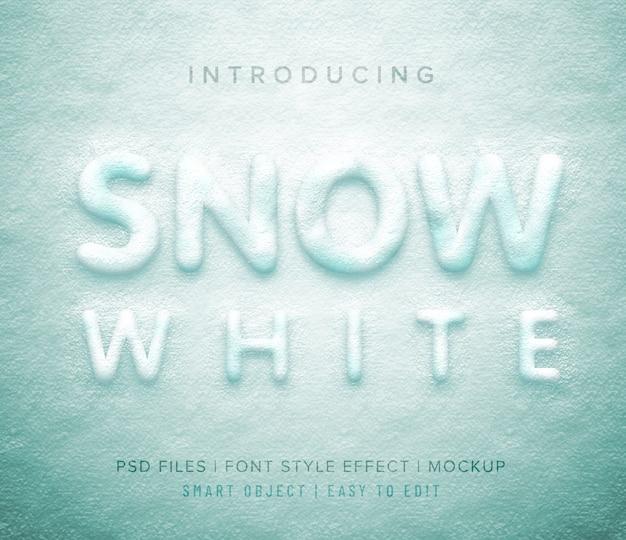 3d snow white font style Premium Psd