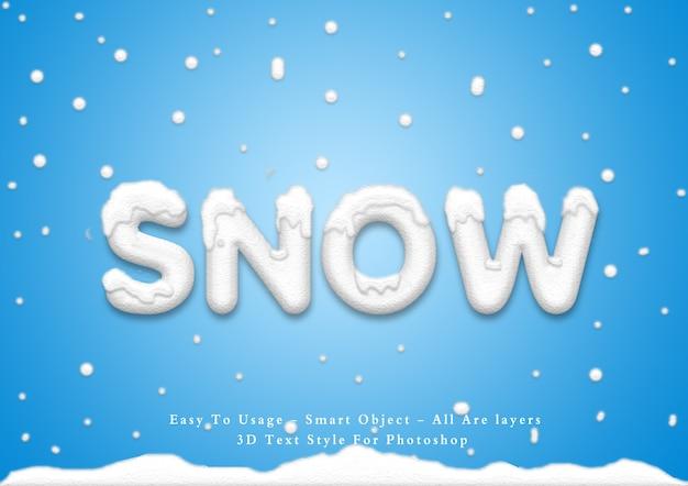 3d snow эффект стиля текста Premium Psd