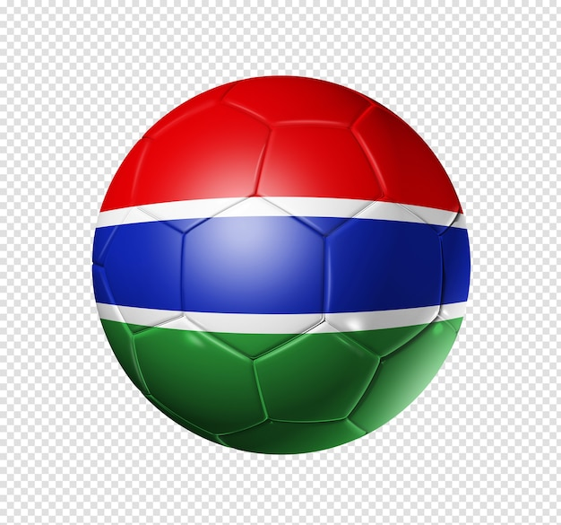 3d soccer ball with gambia team flag Premium Psd