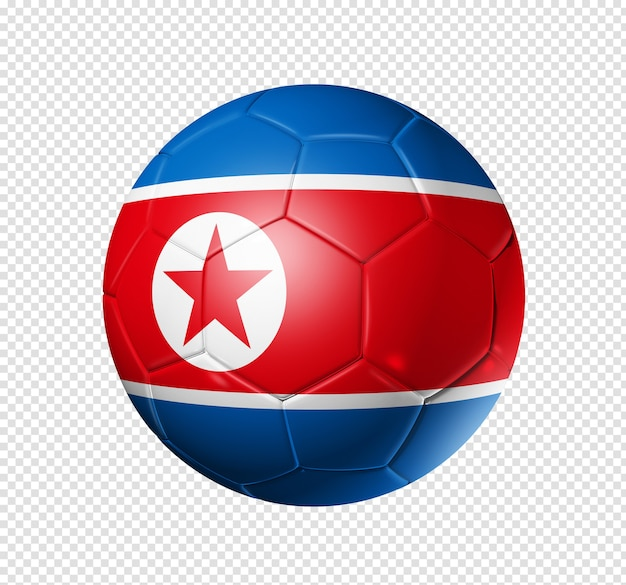 3d soccer ball with north korea team flag Premium Psd