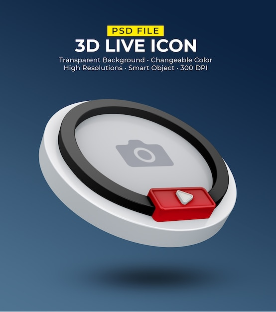 3d social media icon avatar live streaming Premium Psd