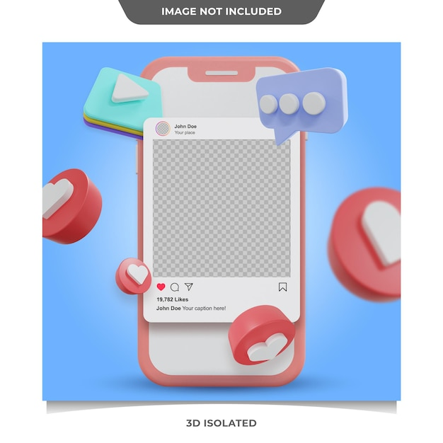 3dソーシャルメディアinstagram投稿モックアップ Premium Psd