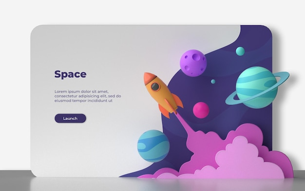 3d space landing page rendering isolated Premium Psd