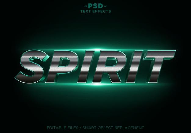 3d Spirit Green 반짝이는 황금 효과 편집 가능한 텍스트 프리미엄 PSD 파일
