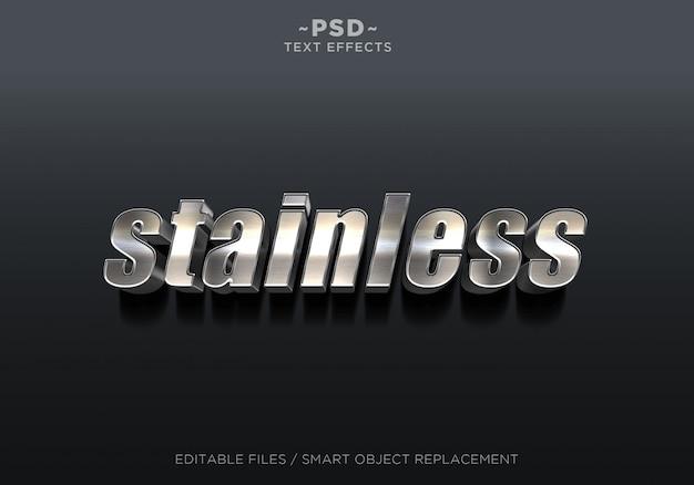 3d stainless effect editable text Premium Psd