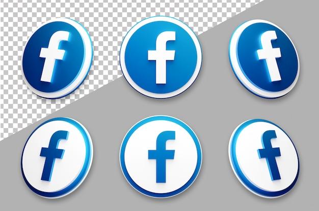 3d style facebook social media logo set Premium Psd