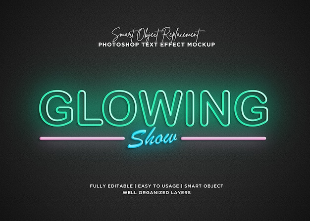 3d style glowing text effect Premium Psd