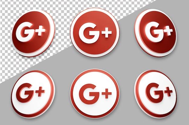 3d style google social media logo set Premium Psd