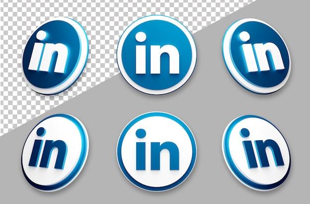 3d style linkedin social media logo set Premium Psd