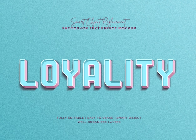 3d style loyality text effect Premium Psd