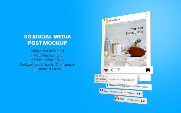 3d стиль макета для instagram социальной сети Premium Psd