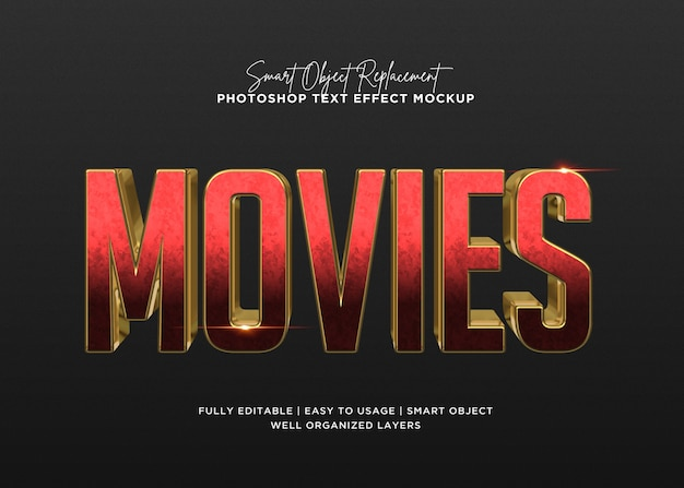 3d style movies text effect template Premium Psd