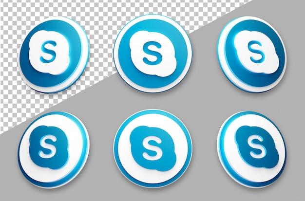 3d style skype social media logo set Premium Psd