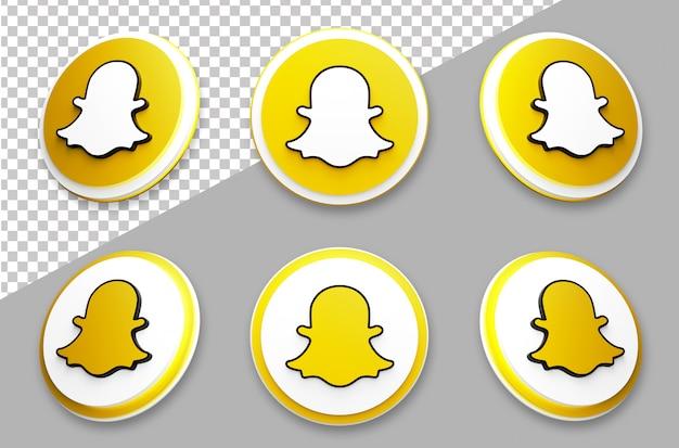 3d style snapchat social media logo set Premium Psd