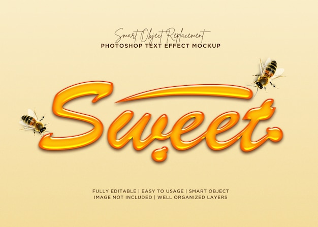 3d style sweet text effect Premium Psd
