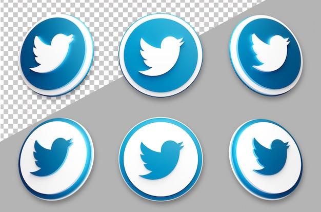 3d style twitter social media logo set Premium Psd