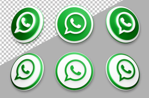 3d style whatsapp social media logo set Premium Psd