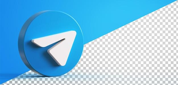 3d telegram circle button icon isolated Premium Psd