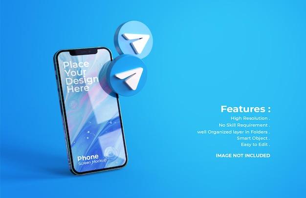 3d telegram icons with mobile screen mockup Premium Psd