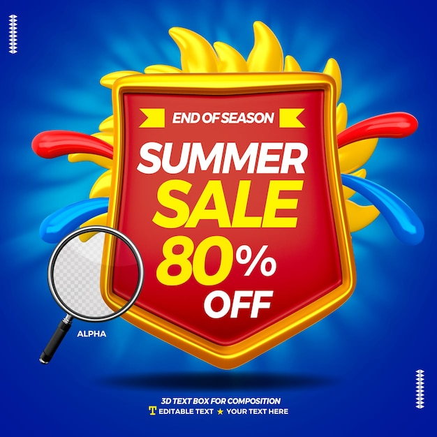 3d text box badge with super sale summer isolated