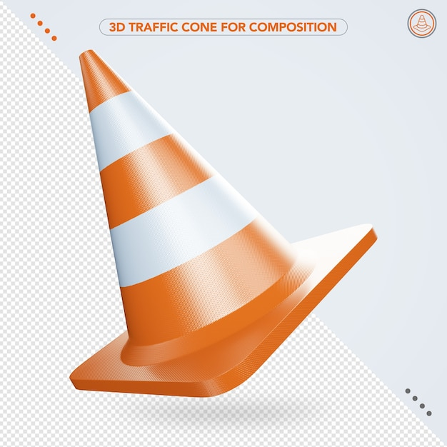 3d traffic cone flying in the air Premium Psd