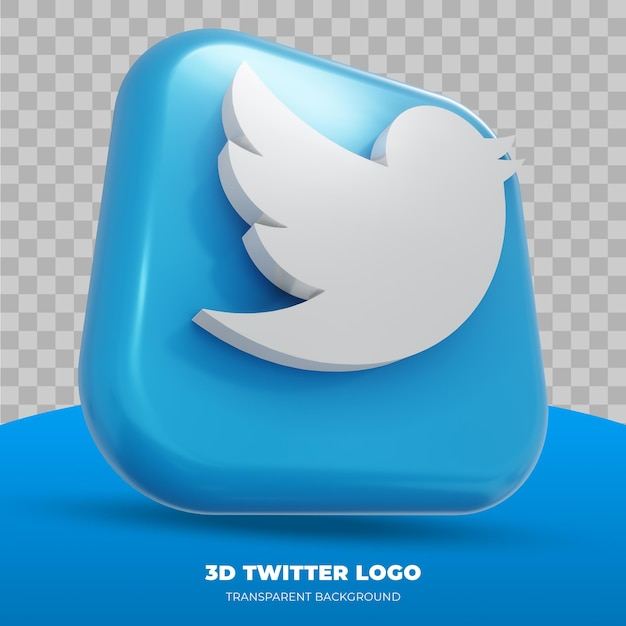 3d twitter logo isolated in 3d rendering Premium Psd