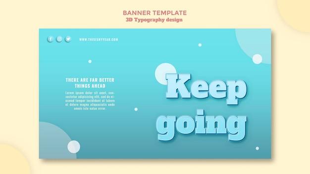 Banner di design tipografia 3d Psd Gratuite