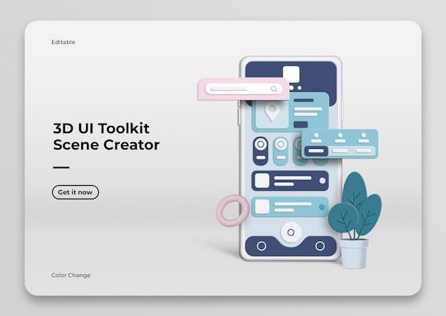 Мокап создателя сцены 3d ui toolkit Premium Psd