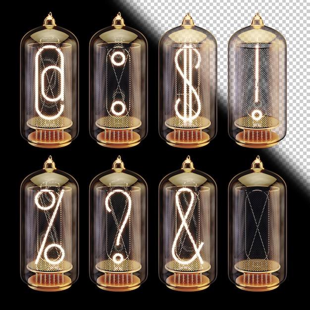 3d шрифт вакуумных трубок со светящимися символами Premium Psd