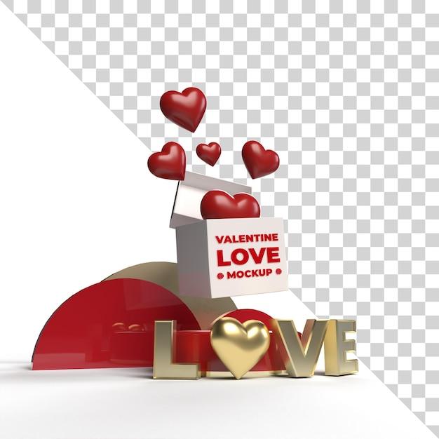 3d 발렌타인 사랑 무대 모형 렌더링 절연 프리미엄 PSD 파일