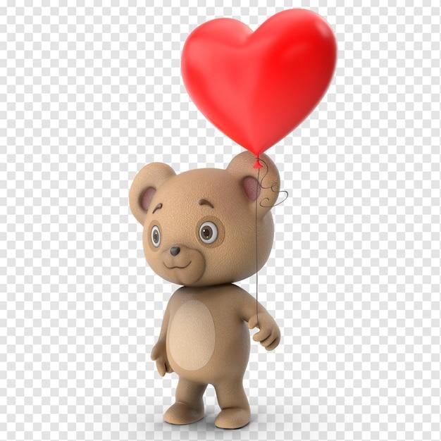 3d валентина милый плюшевый мишка вид сбоку Premium Psd