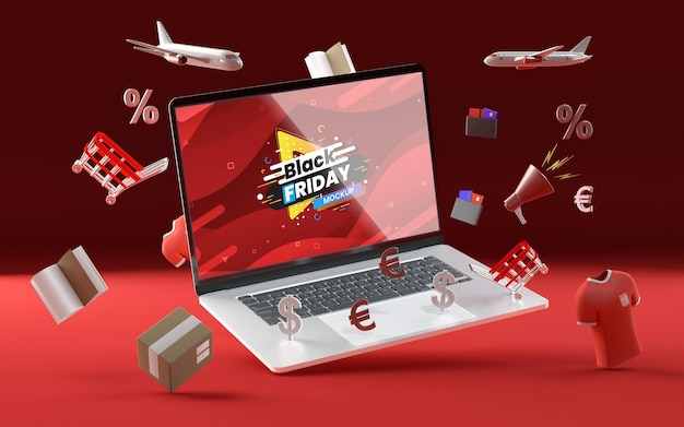 3d various sale objects mock-up red background Free Psd