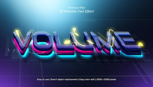 3d volume editable text effect Premium Psd