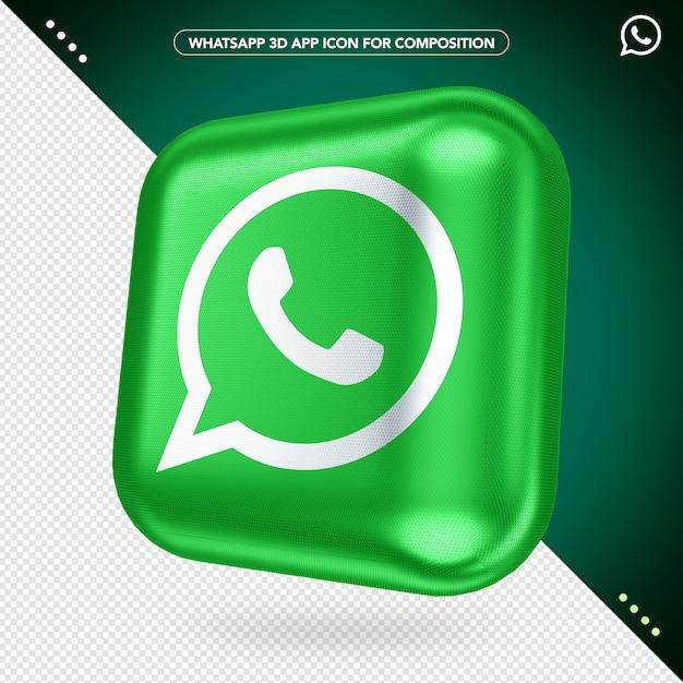 3d Whatsapp 앱 회전 버튼 모형 프리미엄 PSD 파일