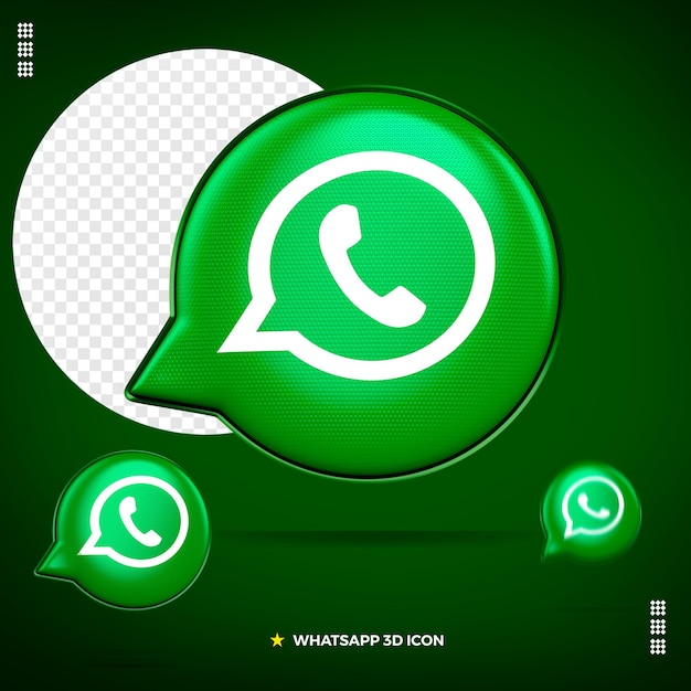 3d whatsapp icon front isolated Premium Psd