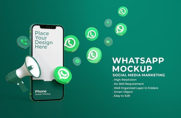 모바일 화면 모형 및 확성기와 3d Whatsapp 아이콘 프리미엄 PSD 파일