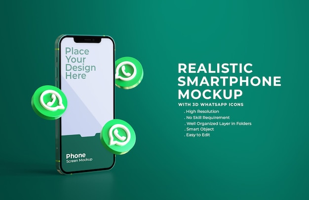 3d whatsapp icons with mobile screen mockup Premium Psd