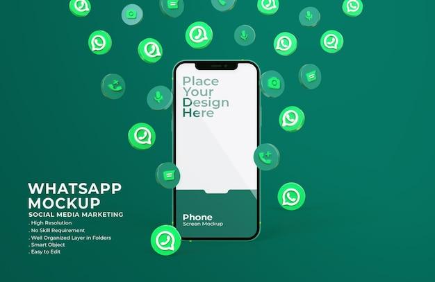 モバイル画面のモックアップと3dwhatsappアイコン Premium Psd