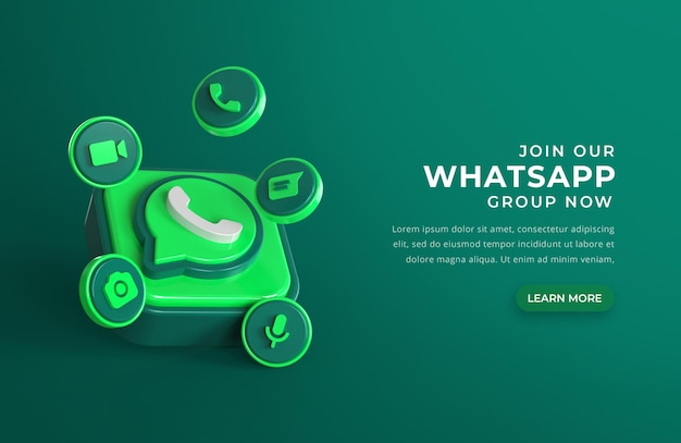 3d whatsapp logo with chat icons Free Psd