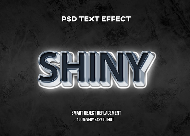 3d белый блестящий эффект текста Premium Psd