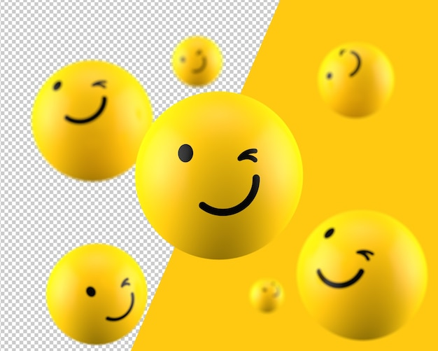 3d winking emoticon icon Premium Psd