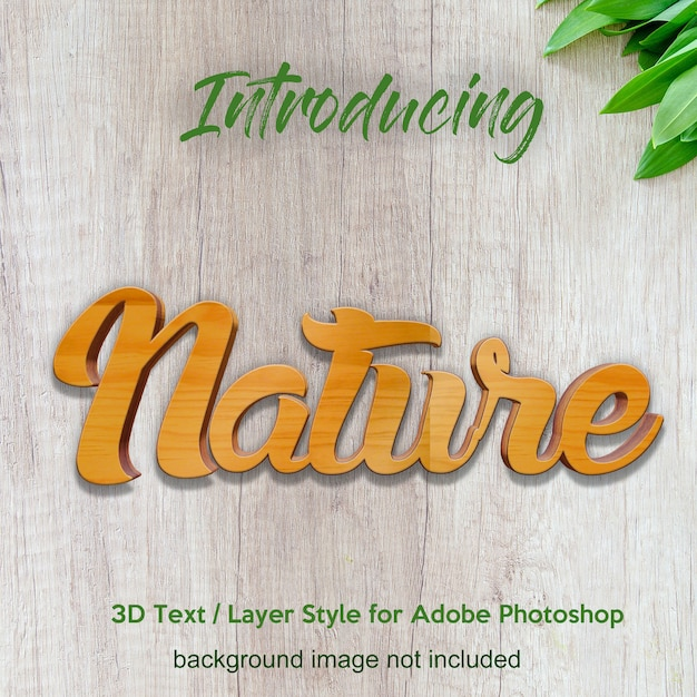 3d wood timber board photoshop layer style text effects Premium Psd
