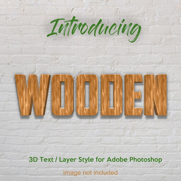 3d wood timber plank textured photoshop layer style text effects Premium Psd
